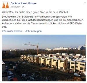 Gut gemacht, Dachdeckerei Marske auf Facebook.